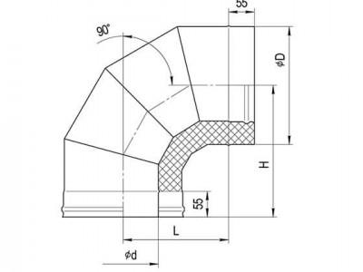 Сэндвич-колено 90° (430/0,5мм + нерж.) Ф115х200